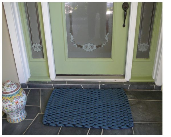 Rockport Rope Doormat Light Blue with Navy insert