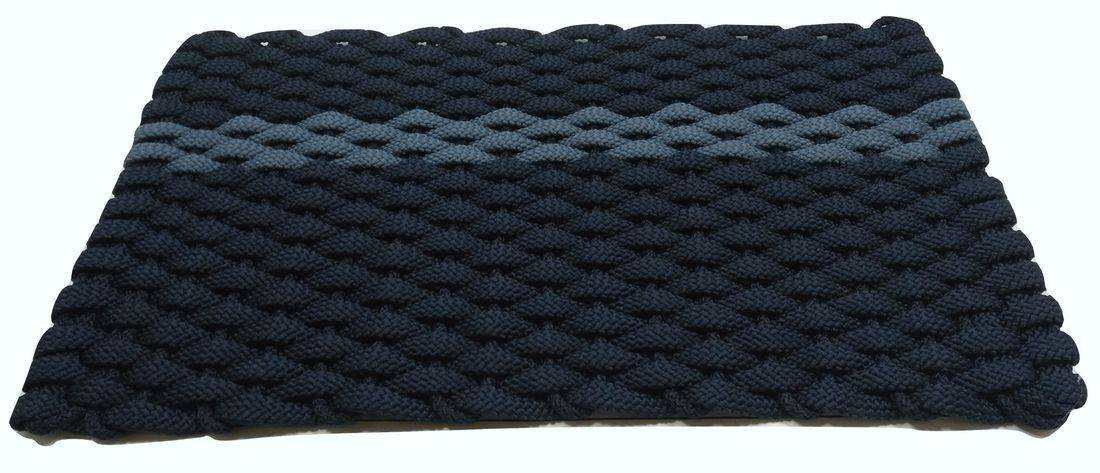 Rockport Rope Mat Navy 1 Offset Light Blue Stripe