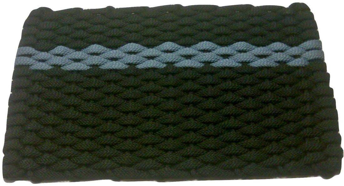 Rockport Rope Mat Black 1 Offset Light Blue Stripe