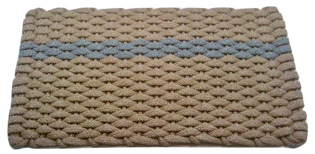 Rockport Rope Mat Tan 1 Offset Gray Stripe
