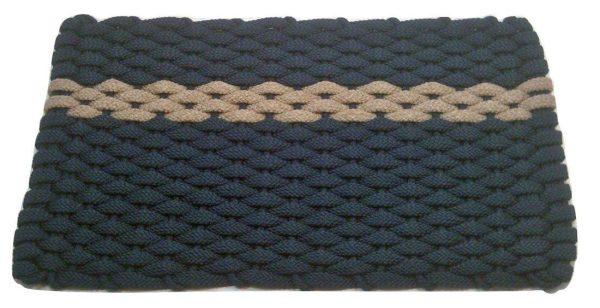 Rockport Rope Mat Navy 1 Offset Tan Stripe