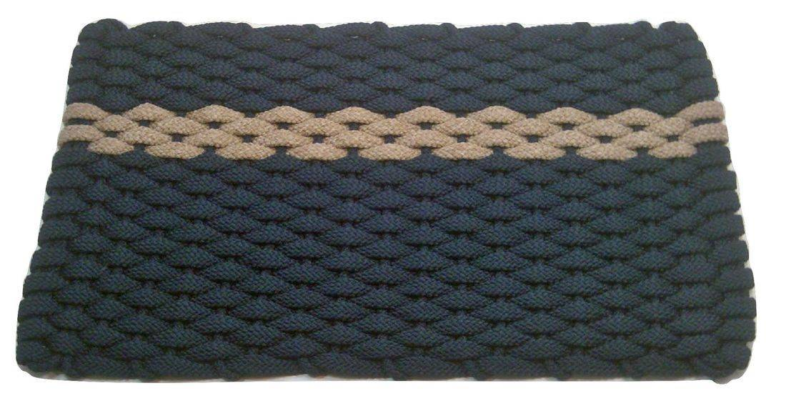Rockport Rope Mat Navy 1 Offset Tan Stripe