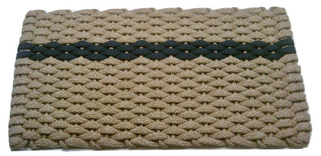 Rockport Rope Mat Tan 1 Offset Navy Stripe