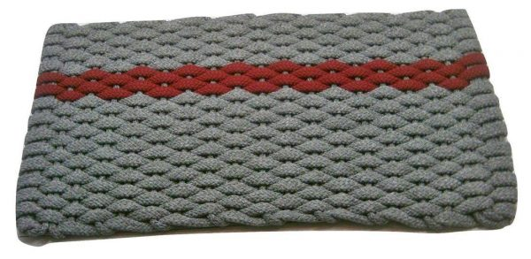 Rockport Rope Mat Gray 1 Offset Red Stripe