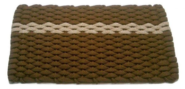 Rockport Rope Mat Brown 1 Offset Tan Stripe