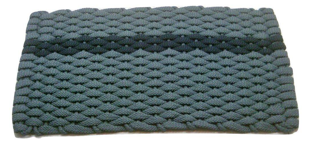 Rockport Rope Mat Light Blue 1 Offset Navy Stripe