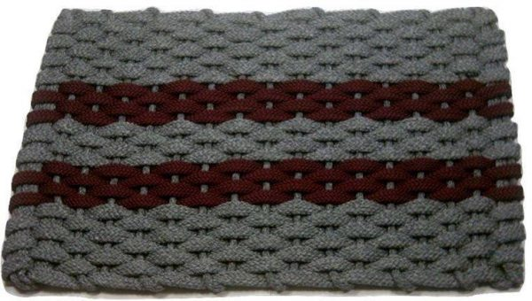 Rockport Rope Mat Gray 2 Wine Stripes