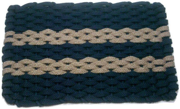 Rockport Rope Mat Navy 2 Tan Stripes