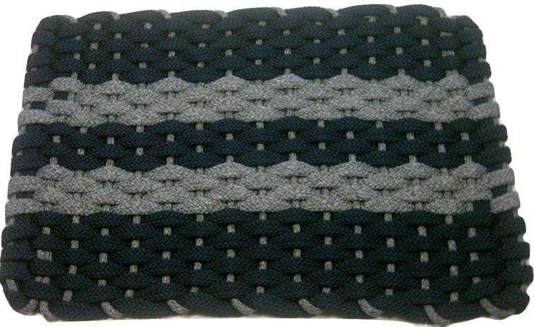 Rockport Rope Mat Navy 2 Gray Stripes Gray Insert