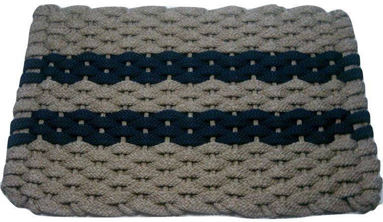 Rockport Rope Mat Tan 2 Navy Stripes