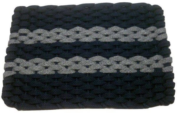 Rockport Rope Mat Navy 2 Gray Stripes
