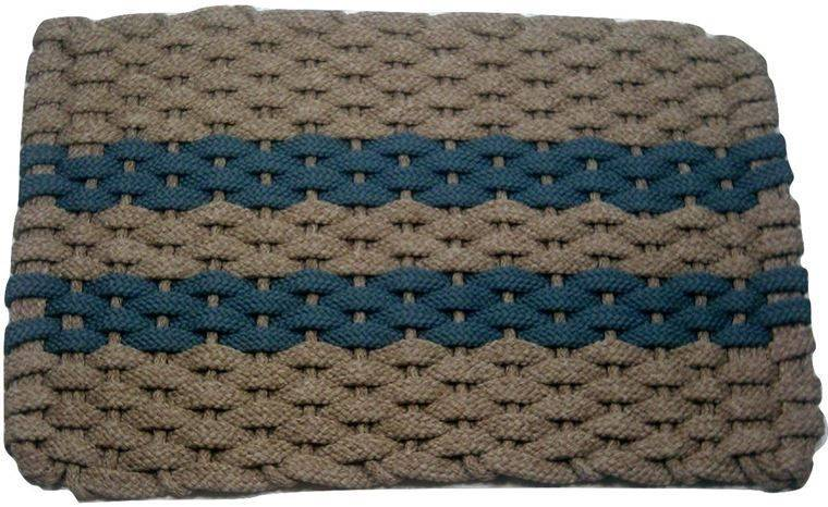 Rockport Rope Mat Tan 2 Light Blue Stripes