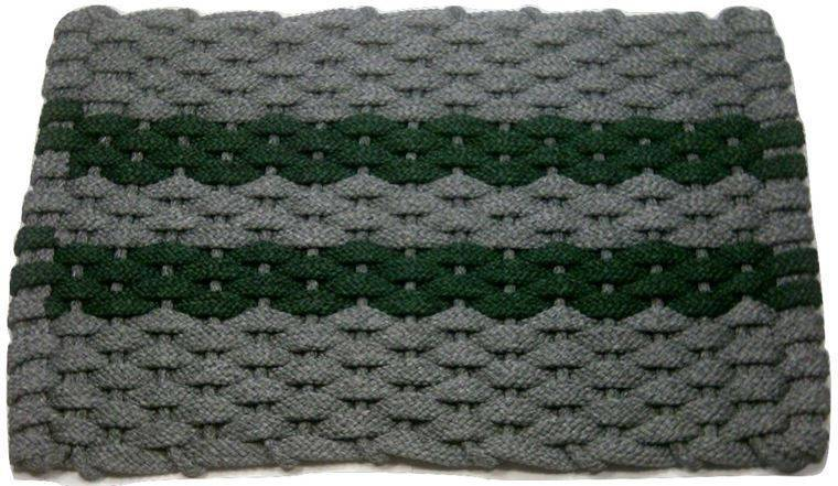Rockport rope mat gray 2 green stripes