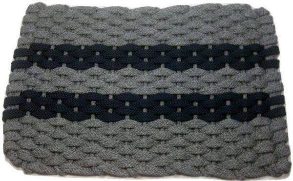 Rockport Rope Mat Gray 2 Navy Stripes