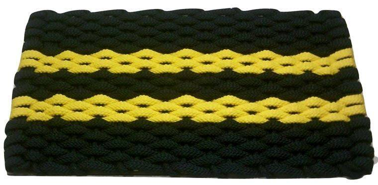 Rockport Rope Mat Navy 2 Yellow Stripes