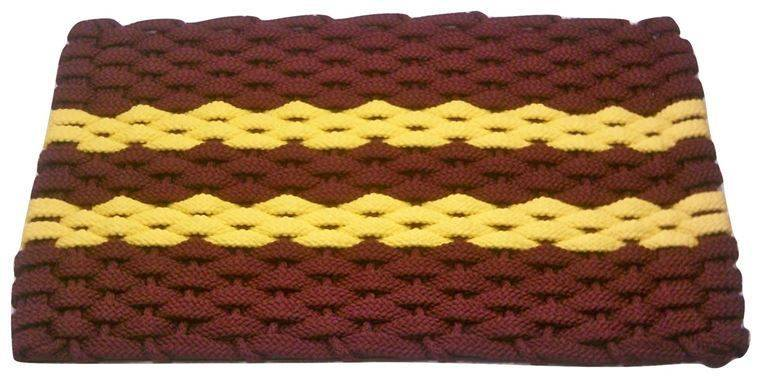 Rockport Rope Mat Wine 2 Yellow Stripes