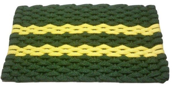 Rockport Rope Mat Green 2 Yellow stripes