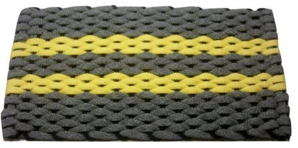 Rockport Rope Mat Gray 2 Yellow Stripes Navy Insert