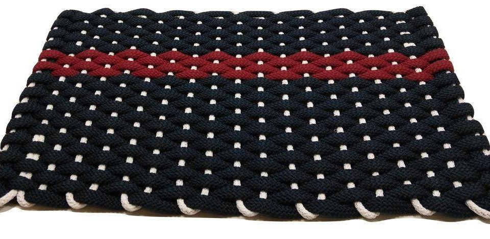 Rockport Rope Mat Navy Offset Red Stripe