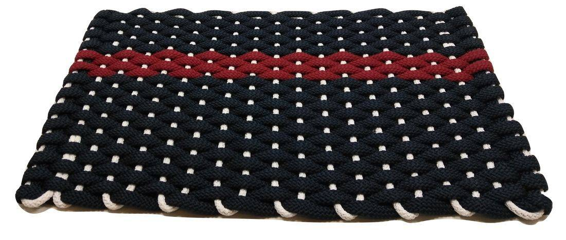 Rockport rope mat navy 1 offset red stripe white insert