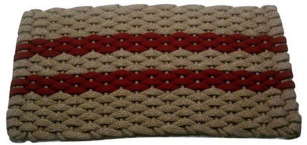 Rockport Rope Mat Tan 2 Red Stripes