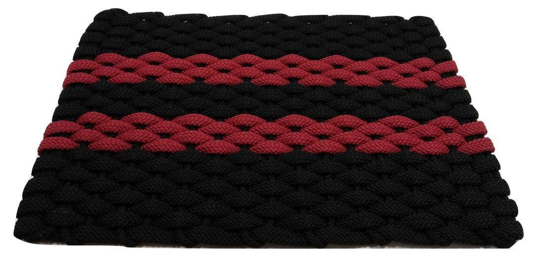 Rockport Rope Mat Black 2 Red stripes