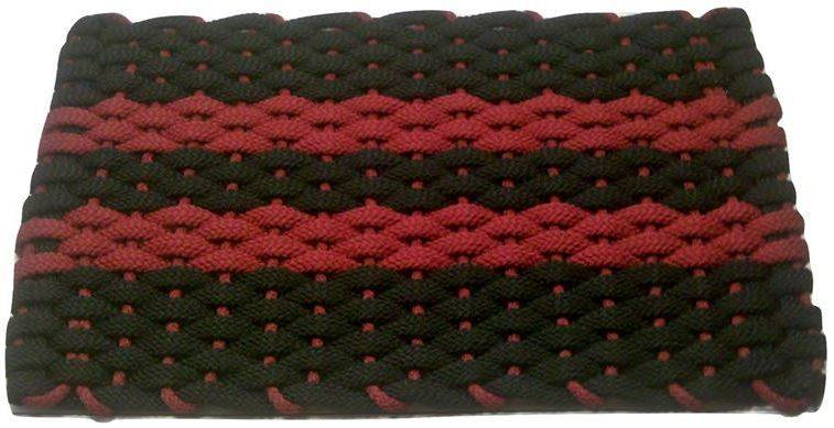 Rockport Rope Mat Black 2 Red Stripes Red insert