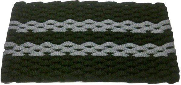 Rockport Rope Mat Black 2 Gray Stripes