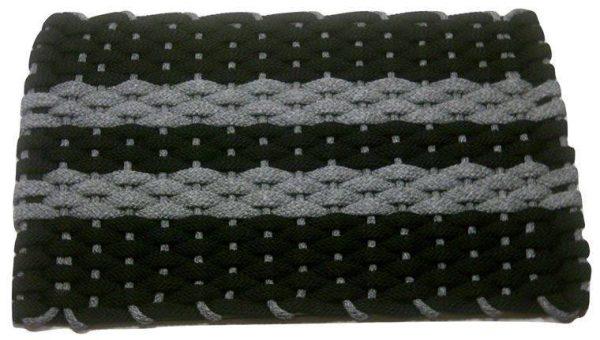 Rockport Rope Mat Black 2 Gray stripes Gray insert