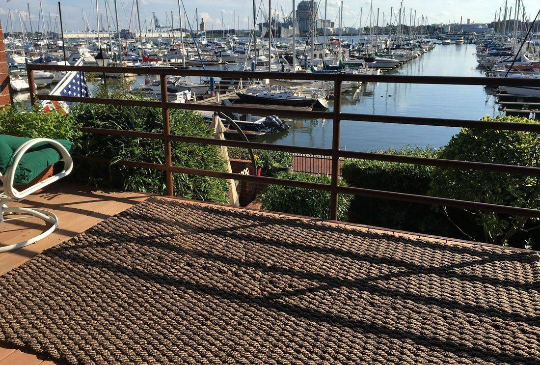 """Rockport Rope Porch Mat 36"""" x 120"""" overlooking Baltimore Harbor"""