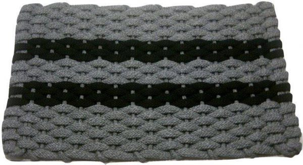 Rockport Rope Mat Gray 2 Black Stripes