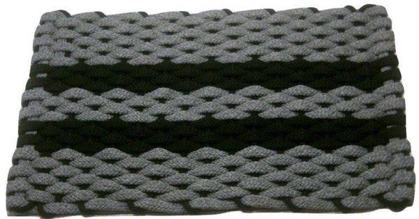 Rockport Rope Mat Gray 2 Black Stripes Black Insert