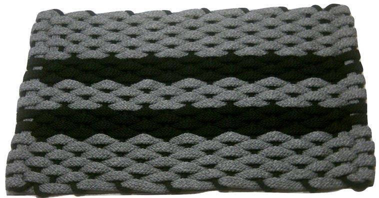 Rockport Rope Mat Gray 2 Black Stripes Black Insert