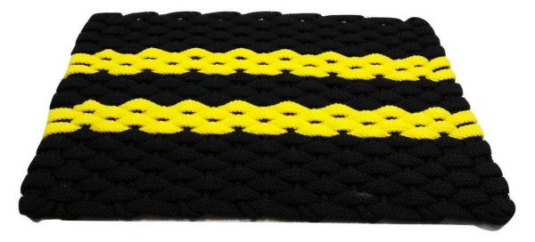 Rockport Rope Mat Black 2 Yellow Stripes