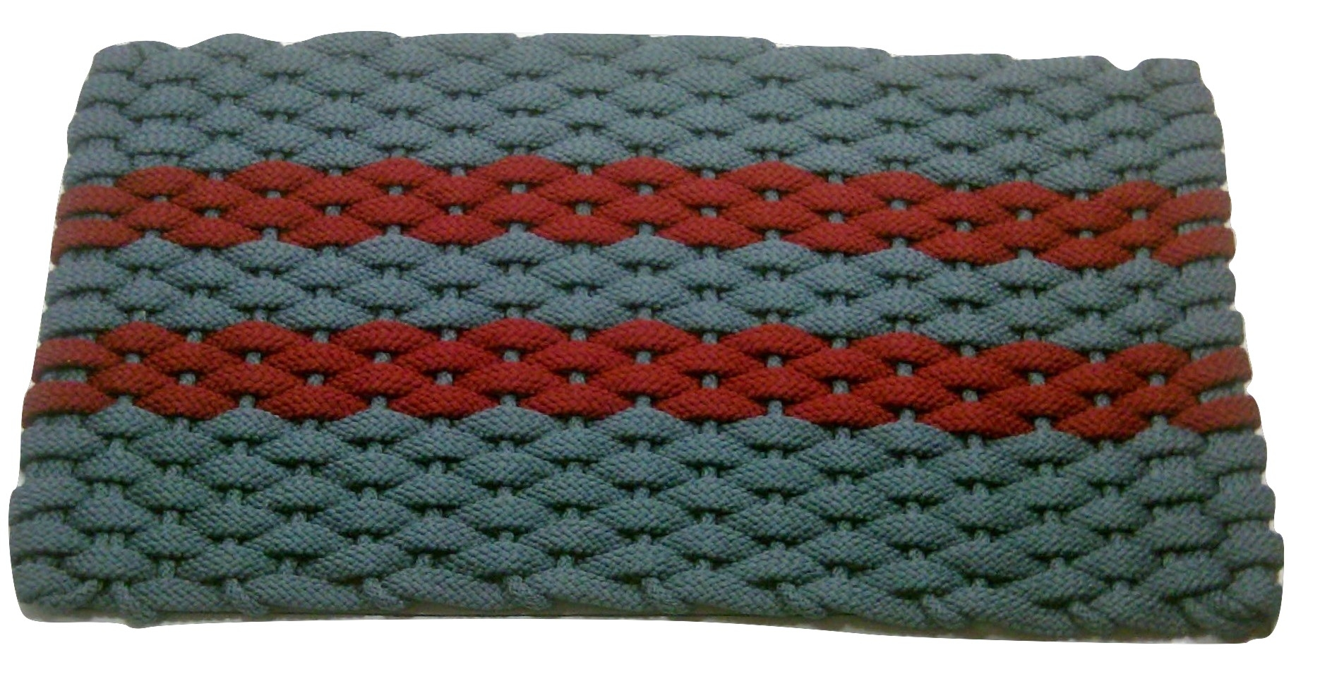 #358 Rockport Rope Door Mat Lt Blue with 2 Red stripes and Light blue insert