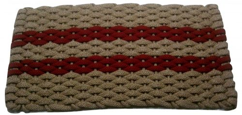 #359 Rockport Rope Door Mat Tan with 2 Red stripes and Tan insert