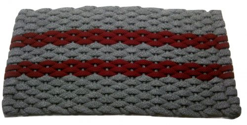 #360 Rockport Rope Mat Gray with 2 Red stripes