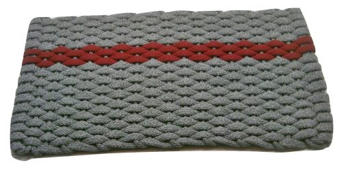 #393 Rockport Rope Door Mat Gray with offset Red stripe