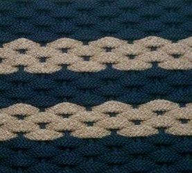 Rope Door Mat Navy with 2 tan stripes navy insert
