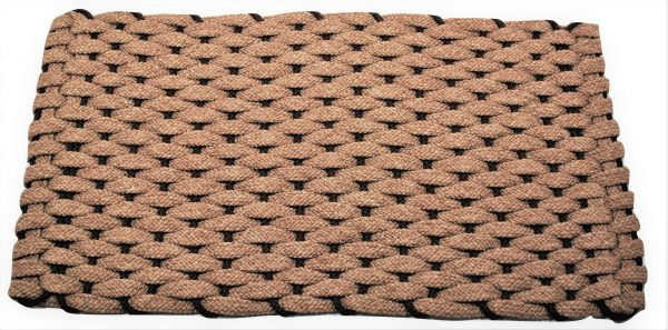 #233 Rockport Rope Door Mat Tan with Brown insert