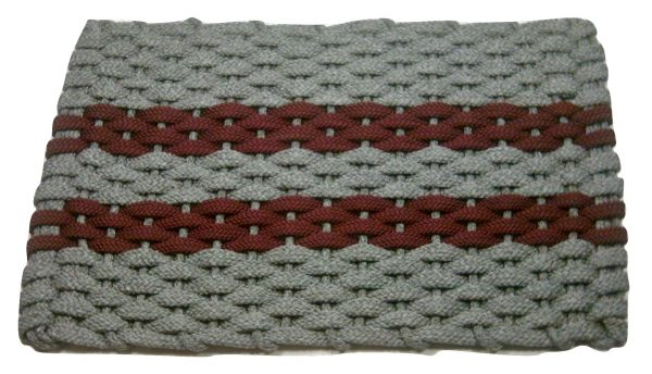 #308 Rockport Rope Mat Gray 2 Wine Stripes