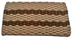 #311 Rockport Rope Mat Tan 2 Brown Stripes