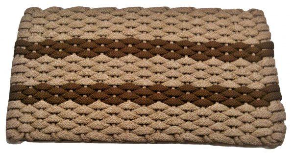#311 Rockport Rope Mat Tan 2 Brown Stripes