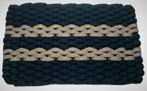 #312 Rockport Rope Mat Navy 2 Tan Stripes