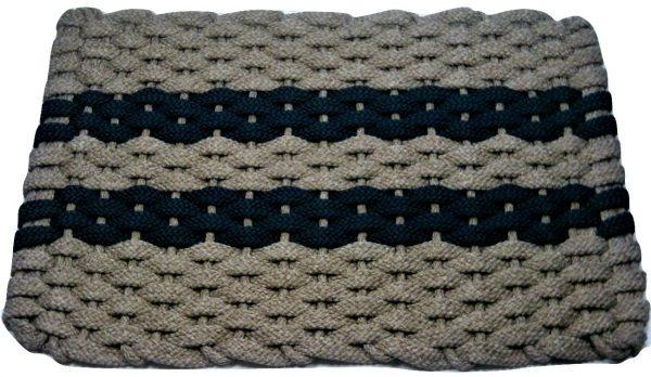 #314 Rockport Rope Mat Tan 2 Navy Stripes