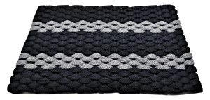 #315 Rockport Rope Mat Navy 2 Gray Stripes