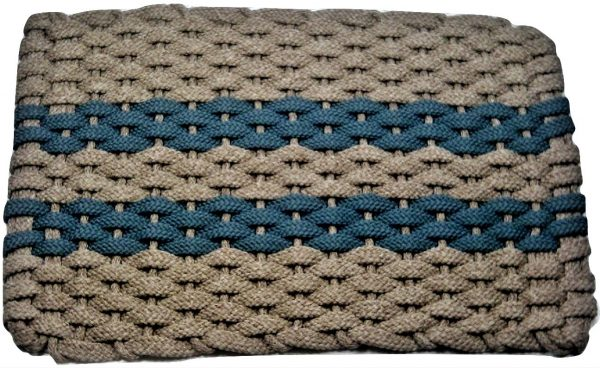 #316 Rockport Rope Mat Tan 2 Light Blue Stripes