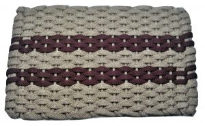 #317 Rockport Rope Mat Tan 2 Wine Stripes