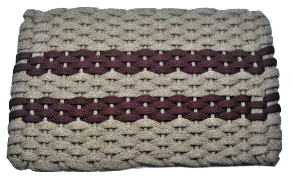#317 Rockport Rope Mat Tan 2 Wine Stripes