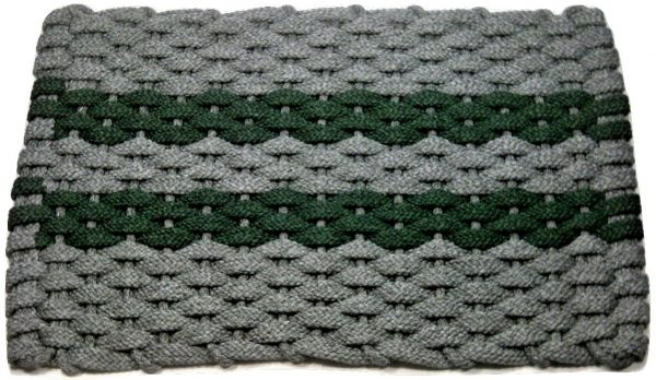 #318 Rockport Rope Mat Gray 2 Green Stripes